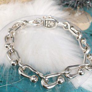 Vtg Sterling Chunky Hook Link Bracelet Zac Mex 33g